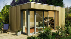 Prefab Office Shed exteriorlogs raised floor and modern shed with white exterior wall plus glass door also Prefab Outdoors Modular Home By Ecospace