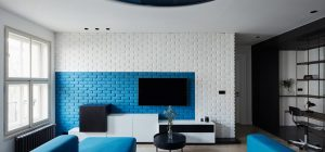 apartment design blue brick wall 300x140 - Ovenecka Apartment