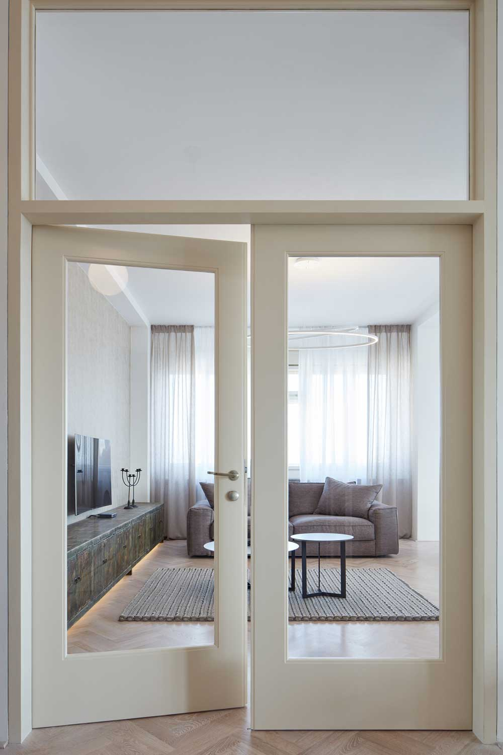 Doors leading to living room