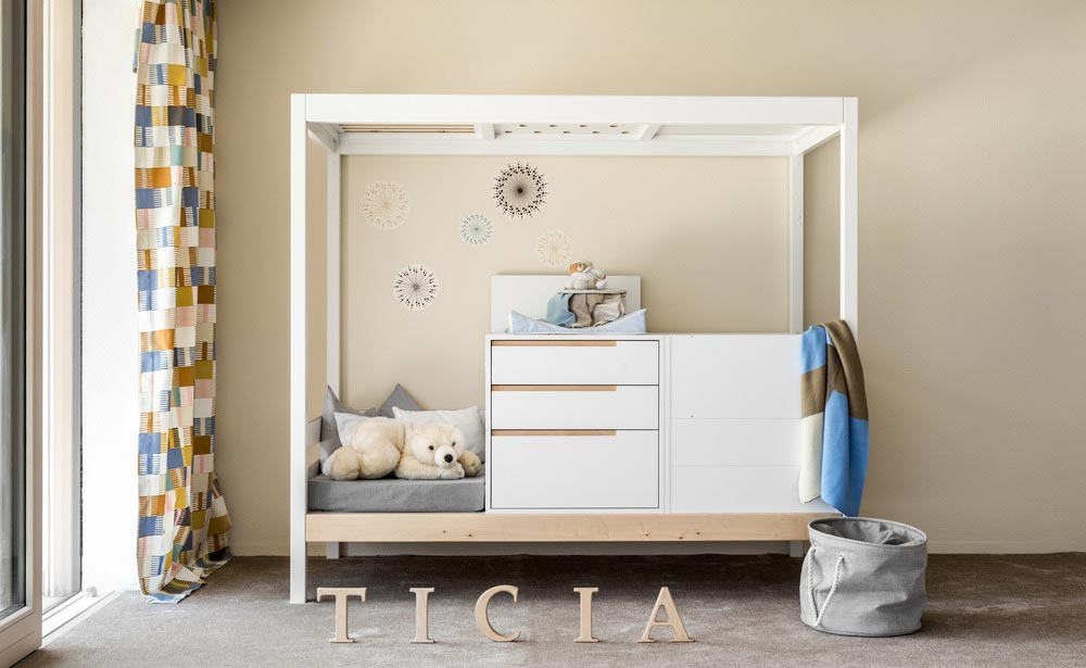 baby cradle change table - TICIA The Growing Bed