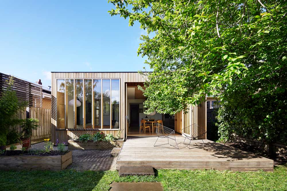 Modern home back wooden extension