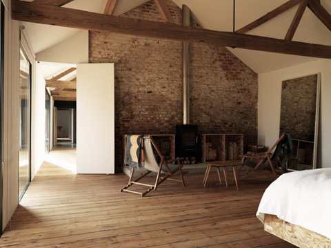 Ochre barn renovation and relaxation in agricultural for Renovating a barn into a house