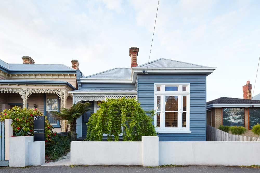 Victorian house blue facade