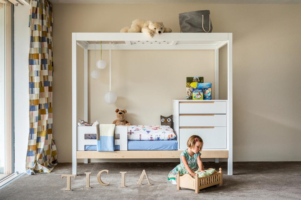 children bed storage space - TICIA The Growing Bed