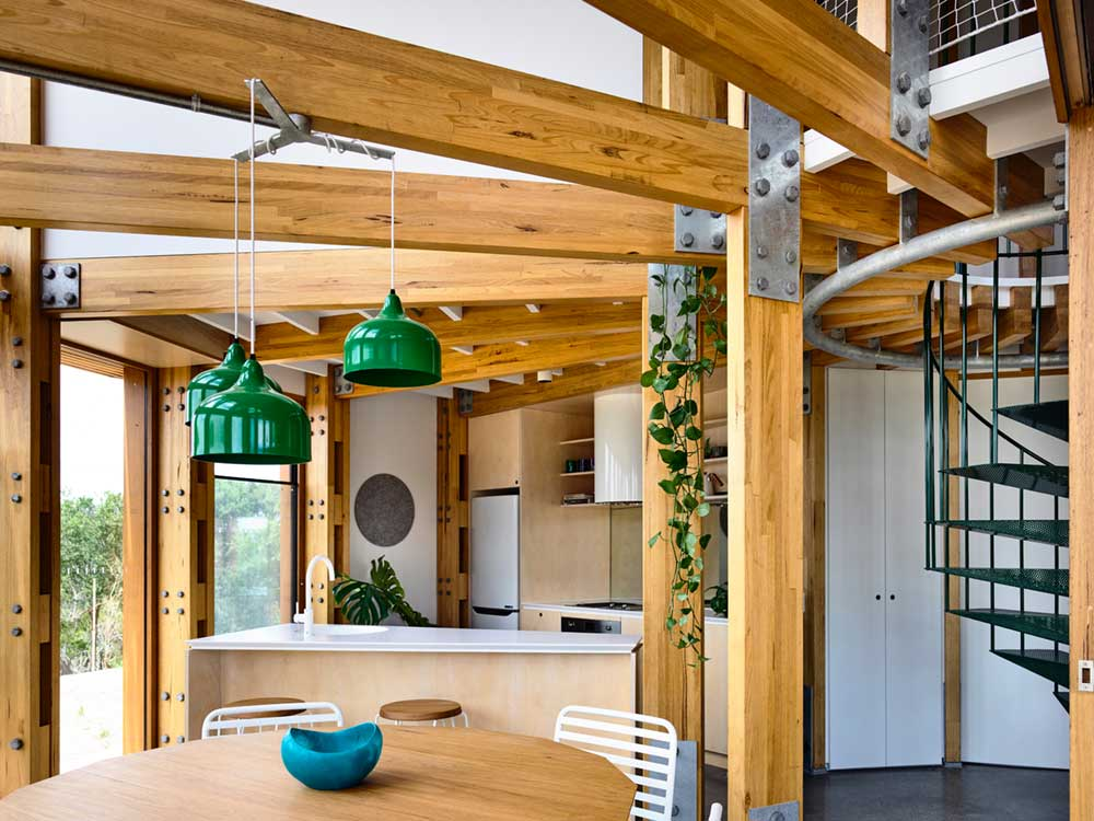 circular beach house design kitchen ama - St Andrews Beach House