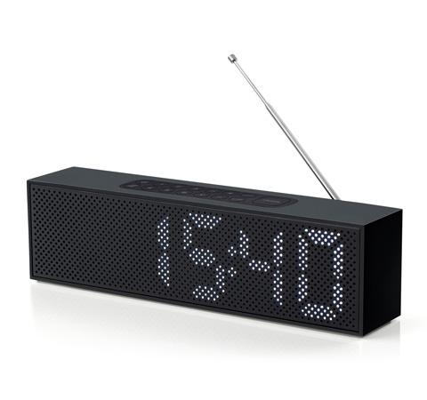 Lexon Titanium Clock Radio And Bluetooth Speaker As