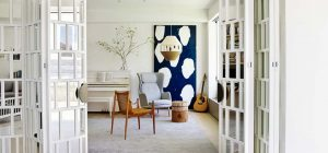 coastal home wood glass room divider