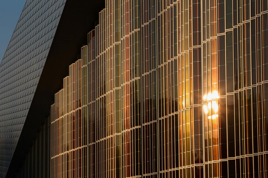 White And Colored Solar Modules Modern Architecture