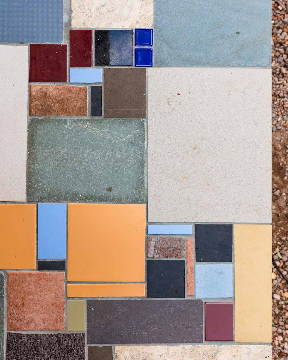 Colorful recycled tile floor design