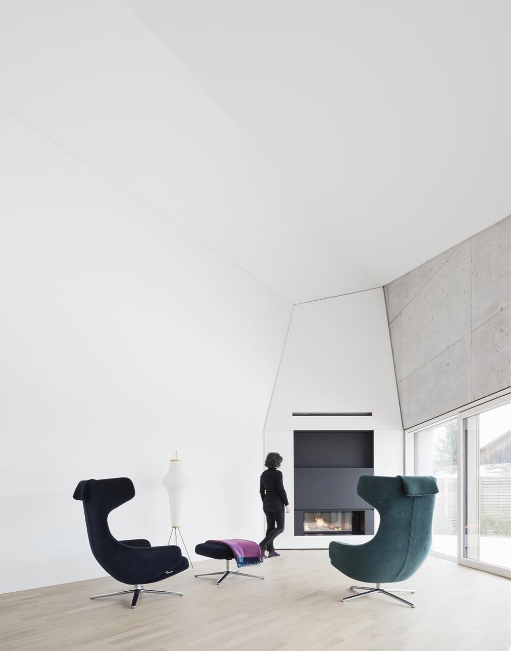 Concrete house fireplace design