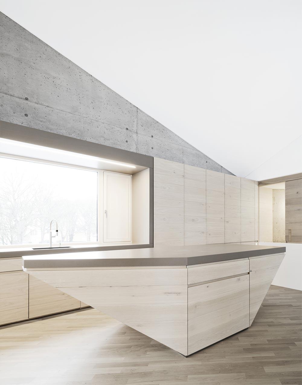 Concrete house kitchen island design