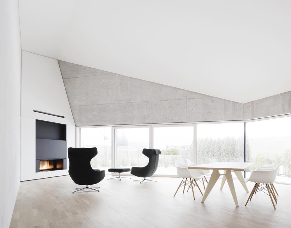 Concrete house living room design