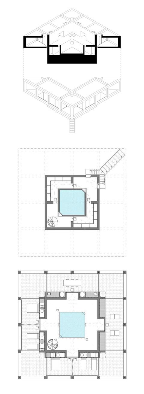 concrete house plan solo1 - Solo House: climbing a concrete sunflower