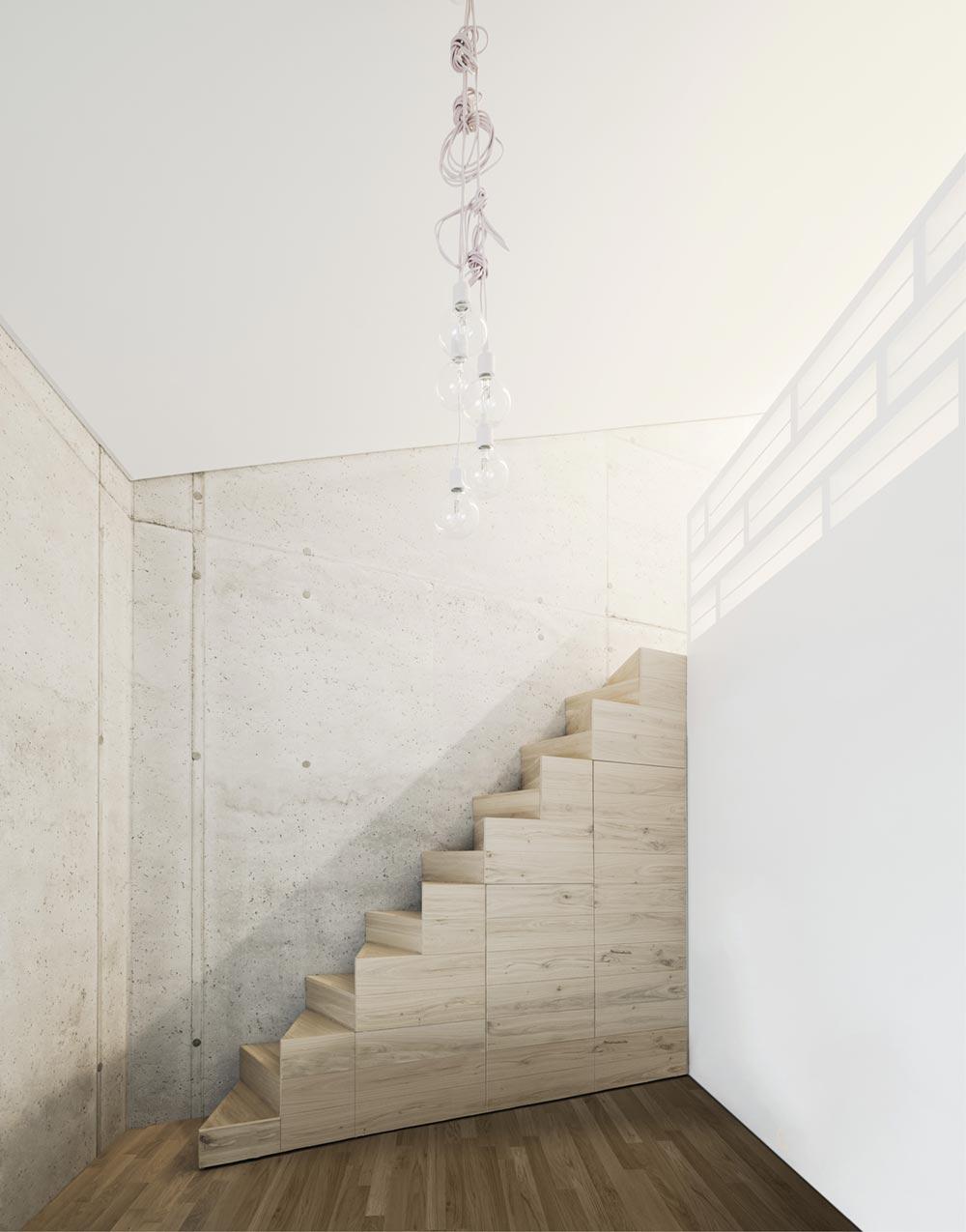 Concrete house staircase design