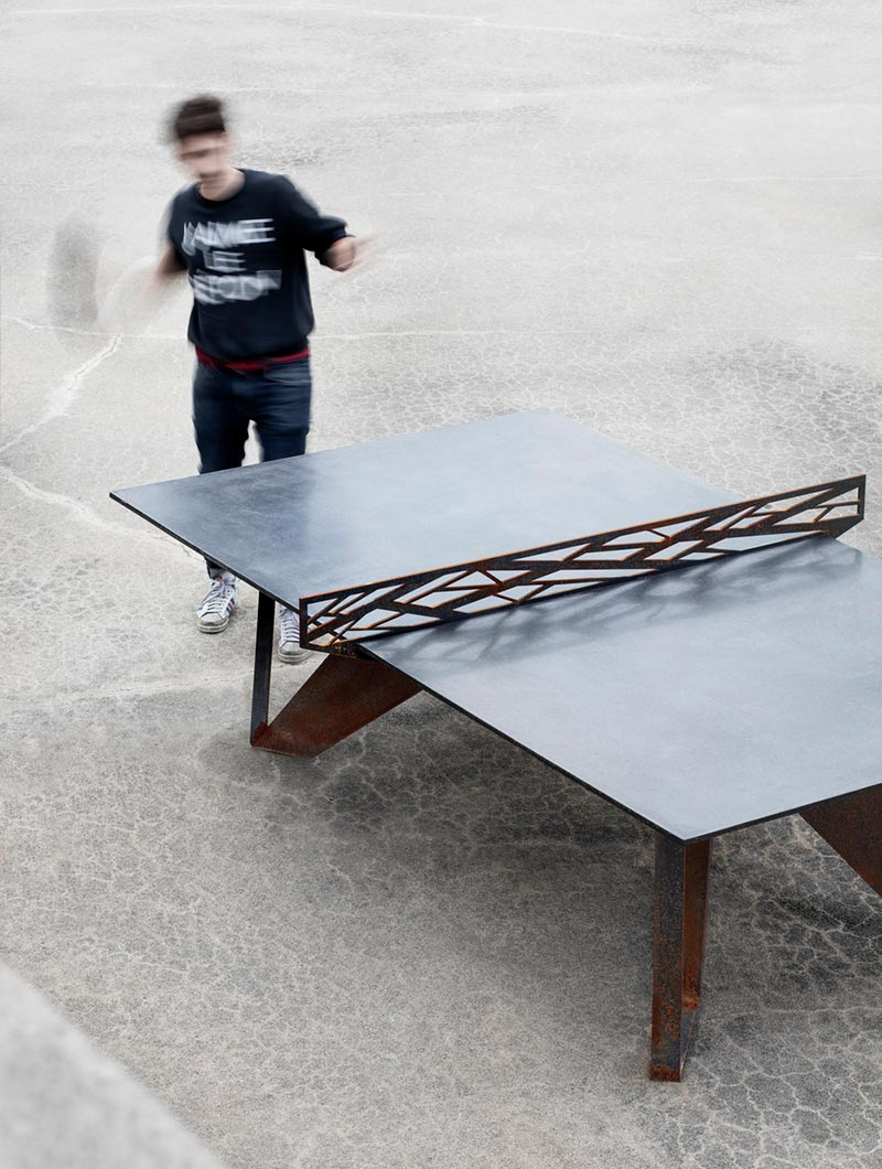 One Of A Kind Ping Pong Table Of Corten Steel And Concrete