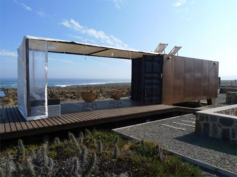 Beach refuge recycled containers with ocean views for Beach box house plans