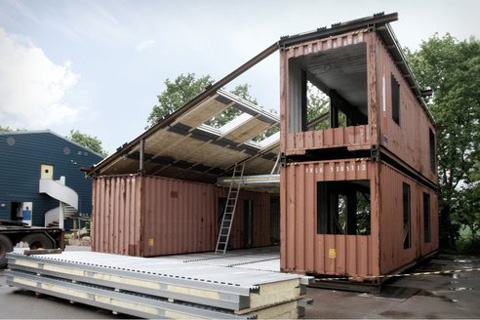 Container home with a steel structure uniting three split parts