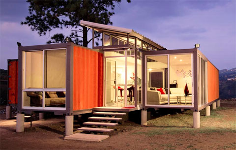 Small house made of recycled shipping containers in Sao Jose, Costa Rica