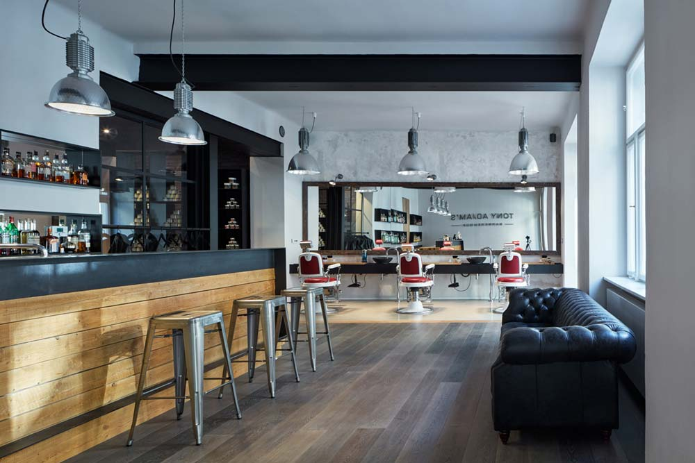 Cool Barbershop with Leather Sofa and Bar