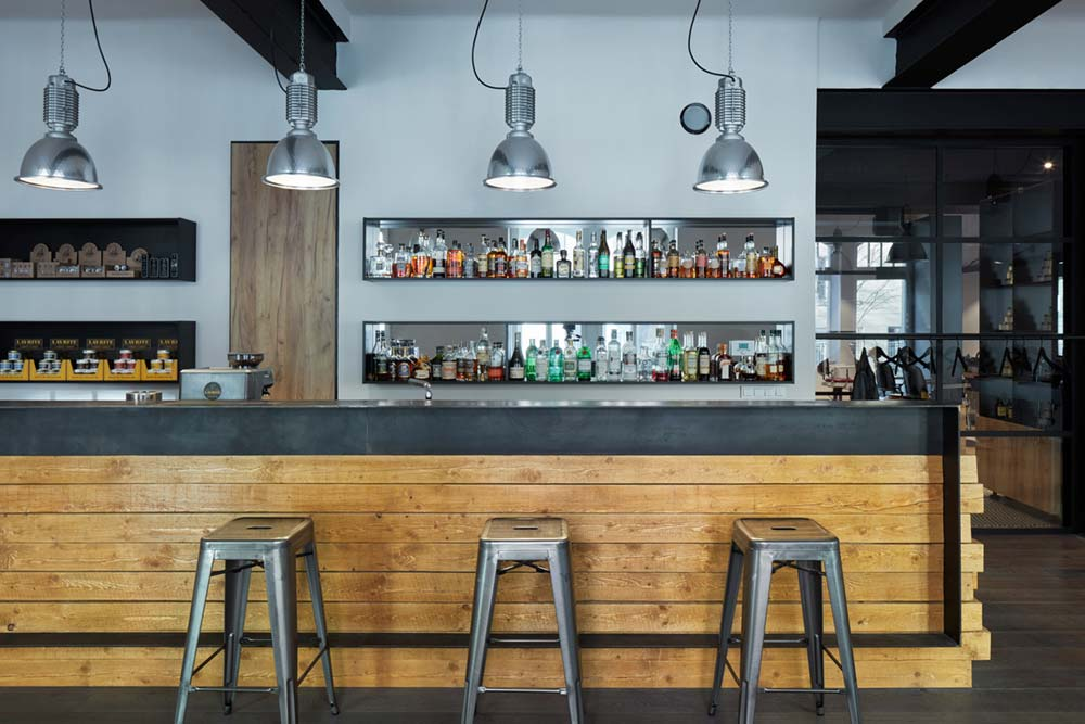 Wood and Metal Bar Design In Barbershop