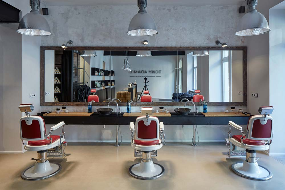 Barber Chairs In Red Leather and White Metal