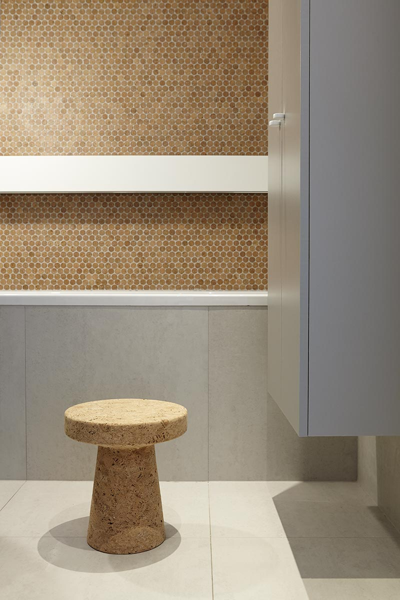 modern interiors with cork everywhere - even the bathroom tiles!