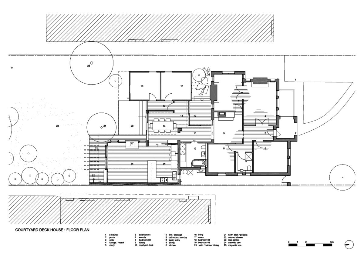 courtyard deck house design plan zga - Courtyard Deck House