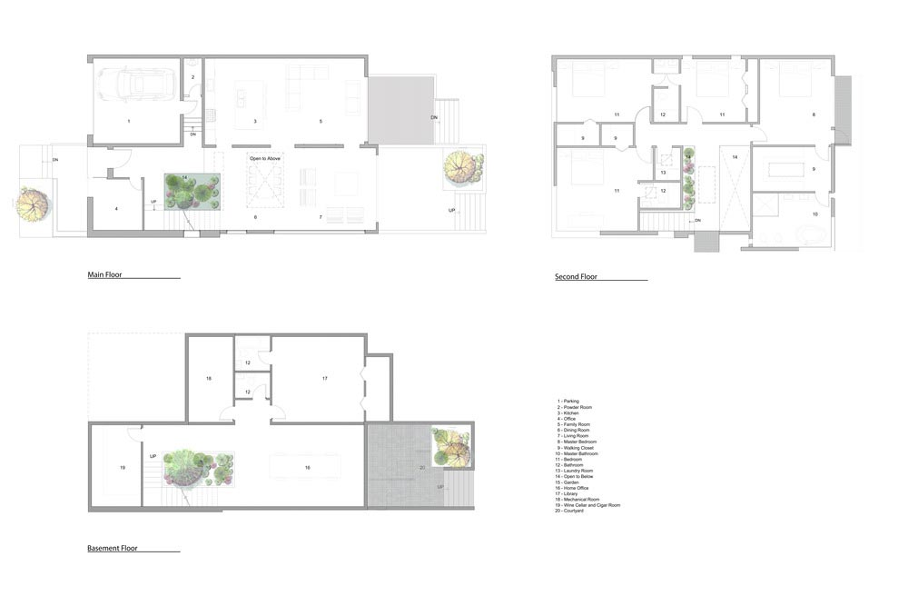 courtyard garden house plan ara2 - Garden Void House