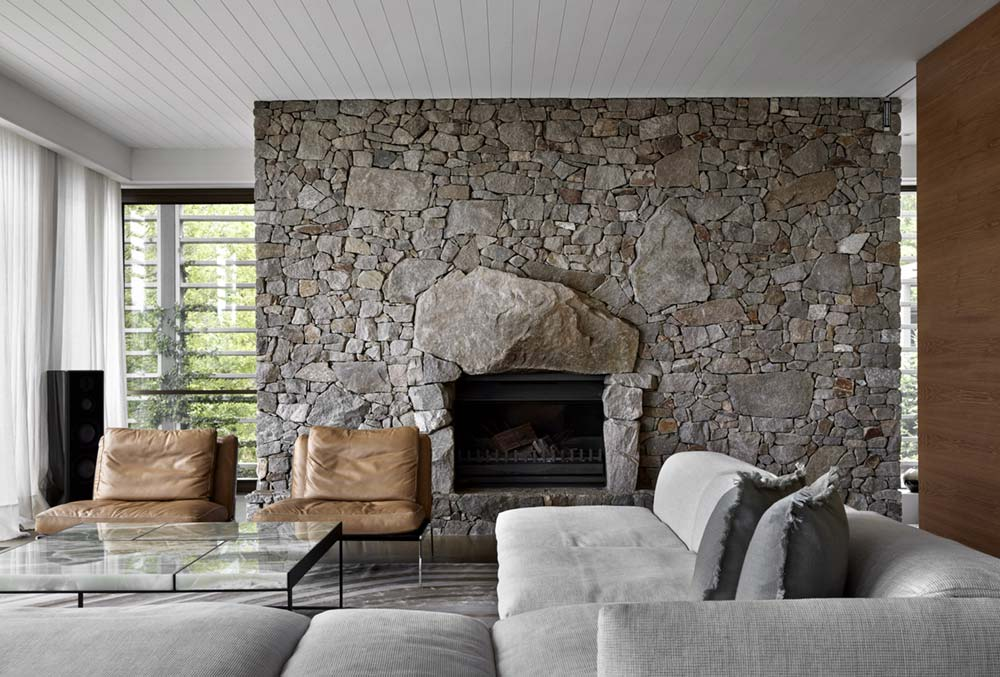 Beautiful Stone Fireplace In Living Room