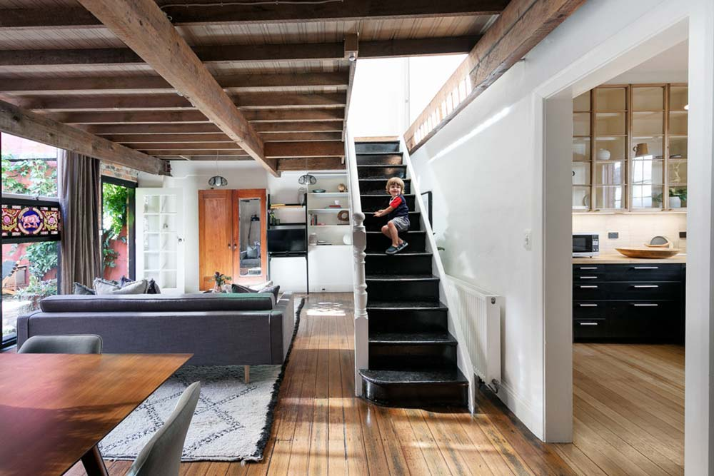 eclectic home wooden beams - Fitzroy Street Residence