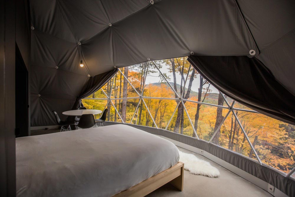eco boutique dome tree view - Eco Luxury Domes Charlevoix