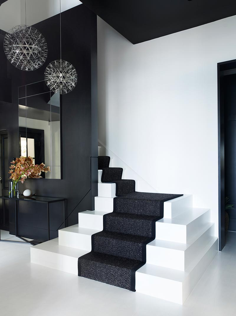 elegant black white staircase design ba - Parsley Bay Residence