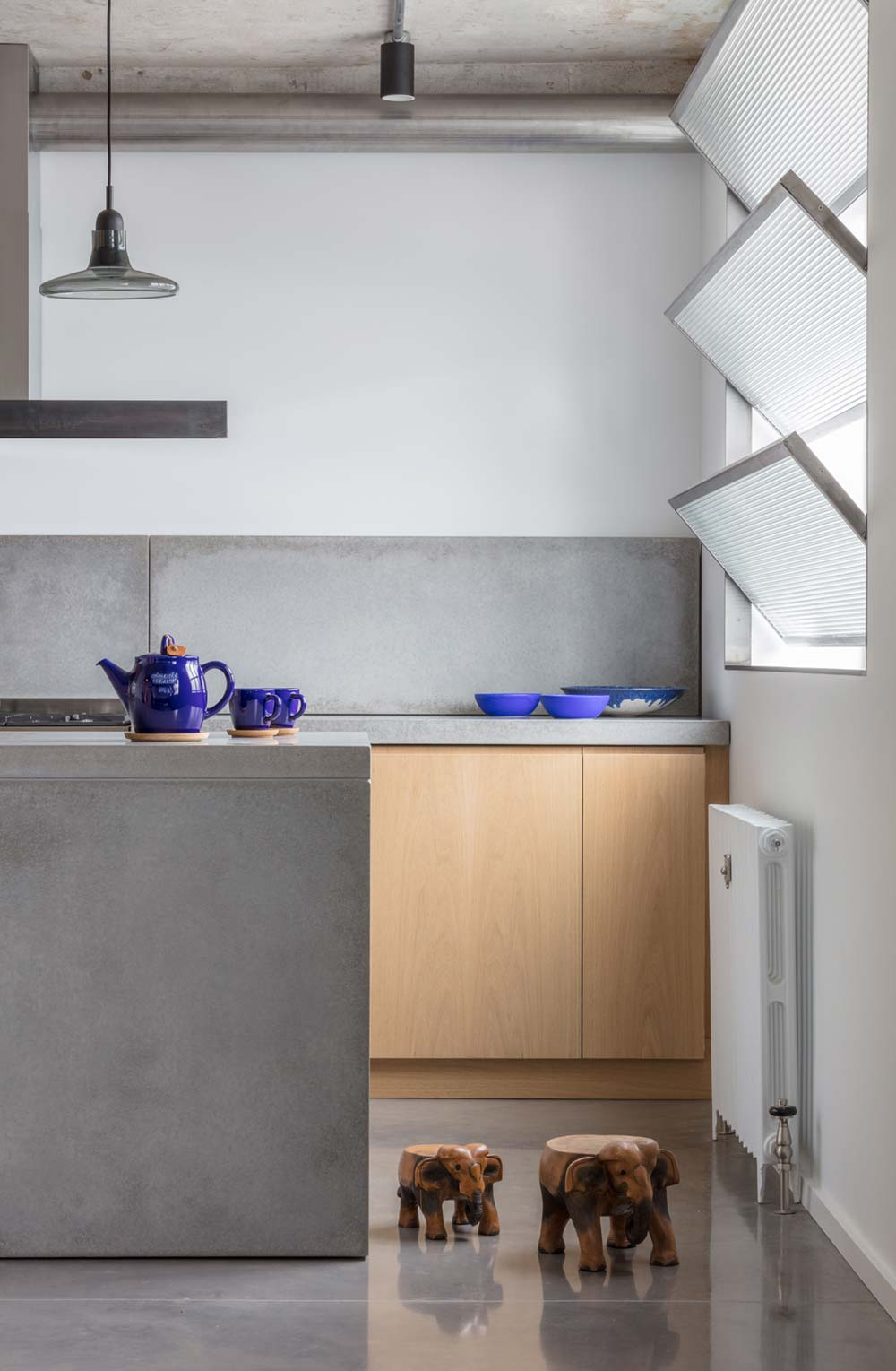family home concrete kitchen island - London Canal-Side Home Conversion