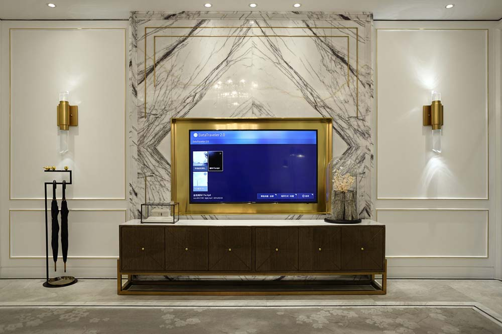 Elegant TV Console Wood and Brass Stand