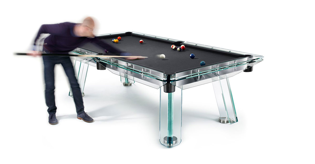 Amazing Modern Pool Table Of Crystal Glass - Made In Italy