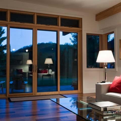 green modern cabin muskoka 5 - Muskoka River House: butterfly roofs & overhangs