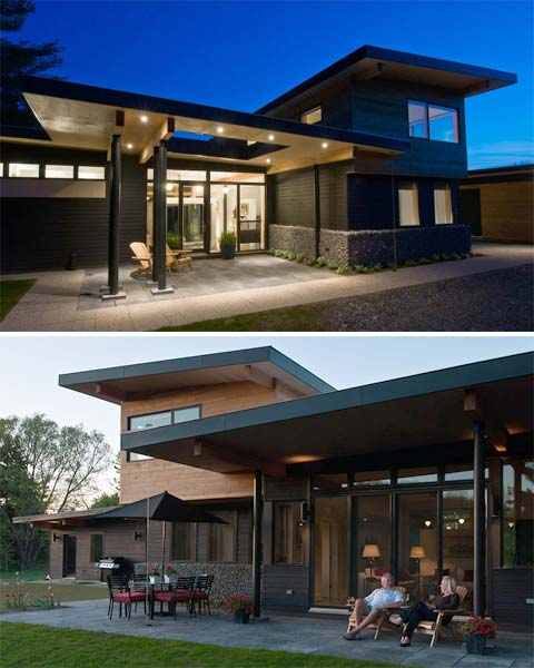 Modern House With Zen Garden And Green Roof: Muskoka River House: Butterfly Roofs & Overhangs