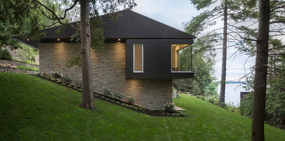 hillside lake house side - The Slender House