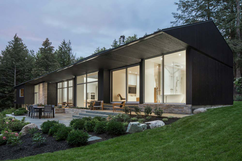 hillside lake house terrace - The Slender House