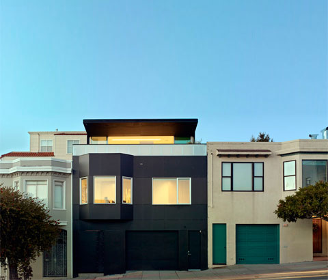 home extension sf200 - 20th Street Residence: a black folding facade