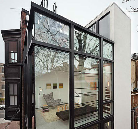 Barcode house ascending through a glass extension home - Glass extensions to houses ...