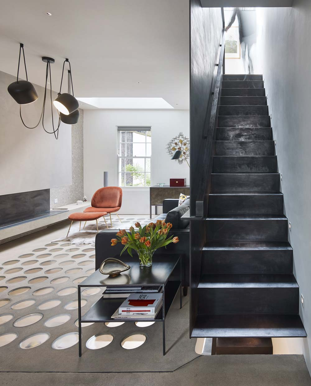 Industrial interior staircase design