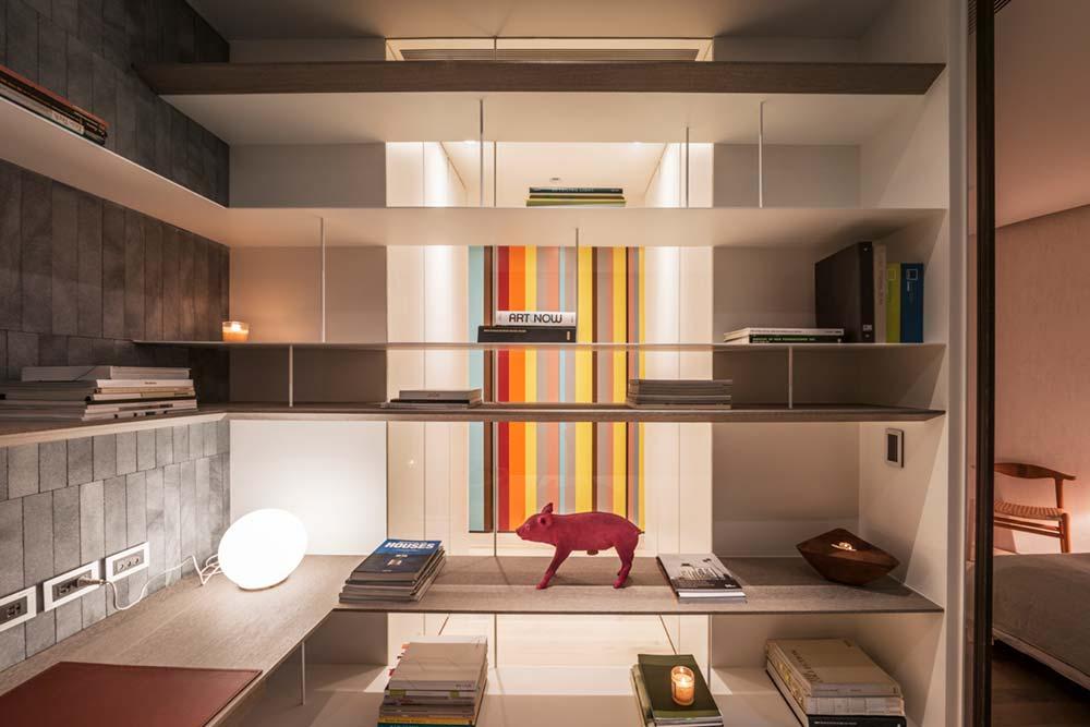 interior design study storage wd - Fluid Mirror Apartment