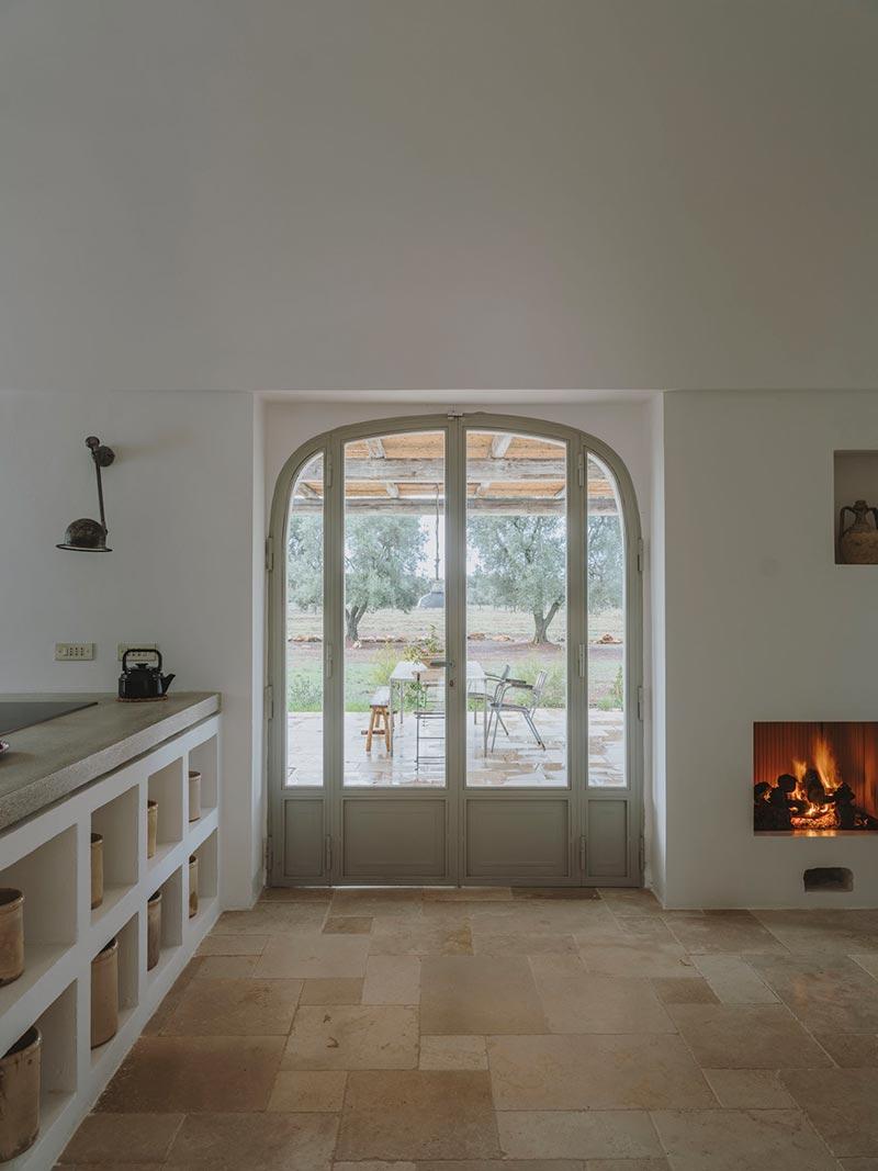 italian villa fireplace design at - Villa Castelluccio