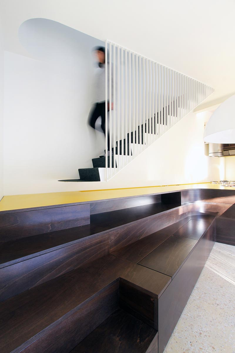 italian villa staircase design - 70's Italian Yellow & Terrazzo Villa