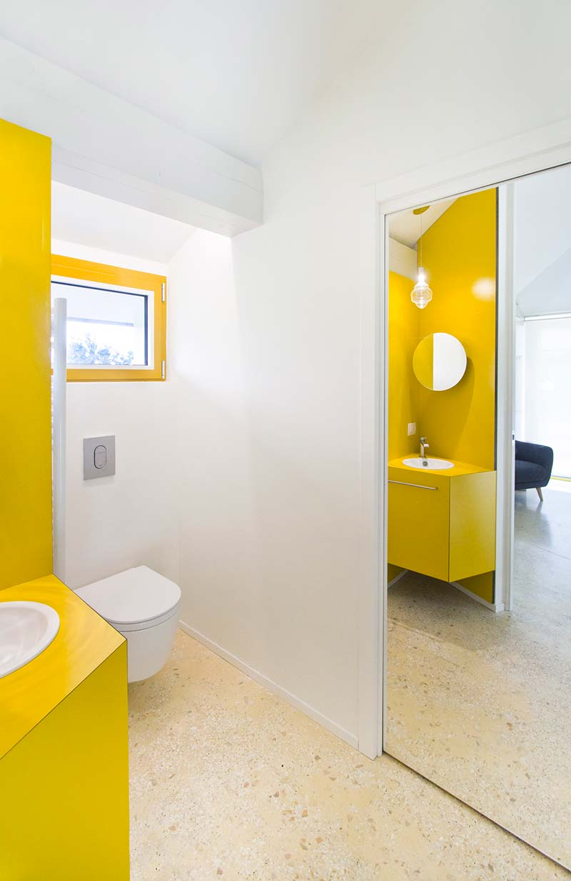 italian villa yellow bathroom design - 70's Italian Yellow & Terrazzo Villa