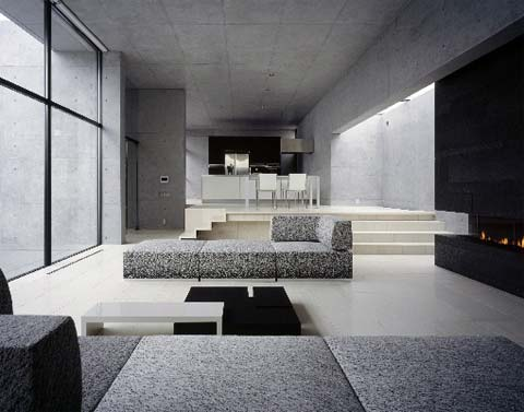 House in kakinokizaka japanese architecture for Living room of satoshi