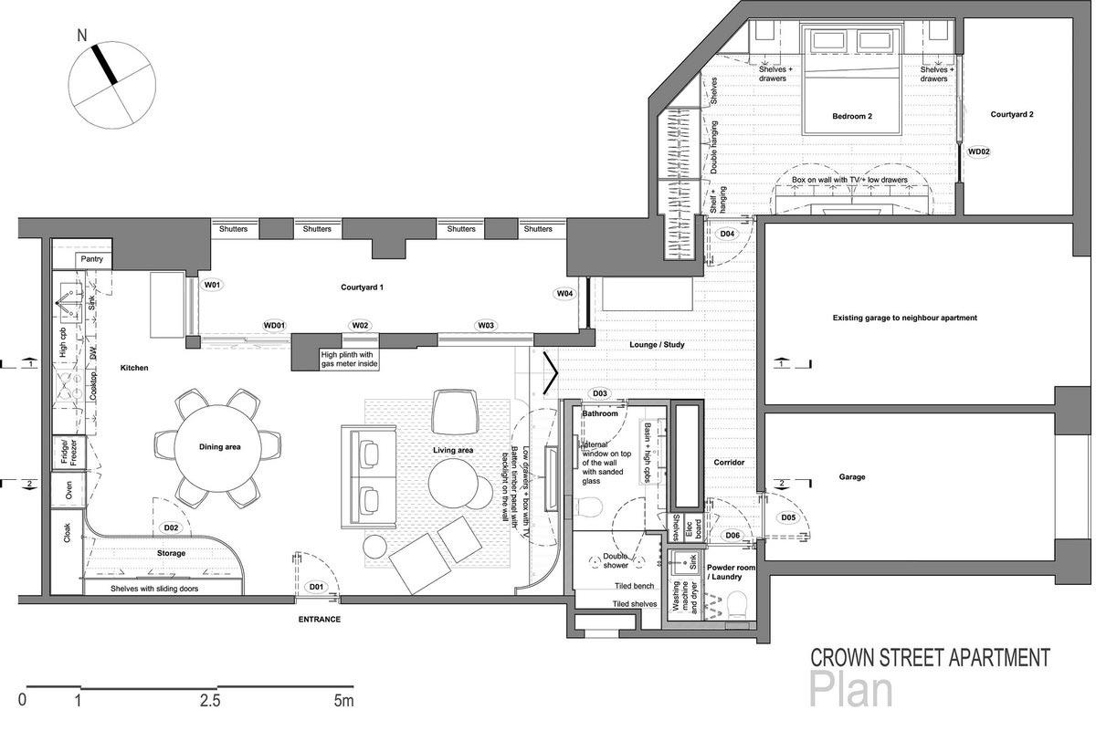 japanese interior design plan - Darlinghurst Apartment