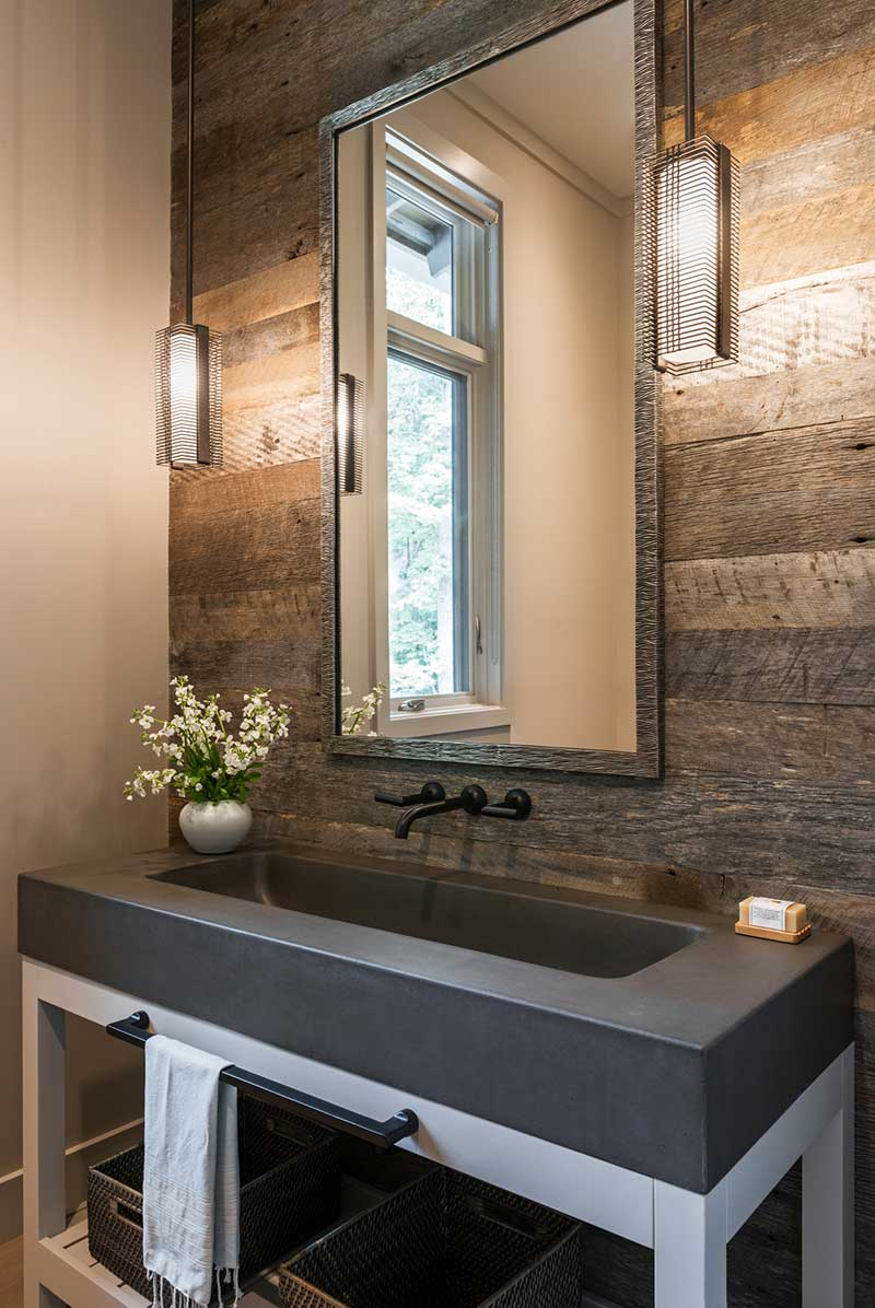 l shape farmhouse powder room design - Mill Spring Modern Farmhouse