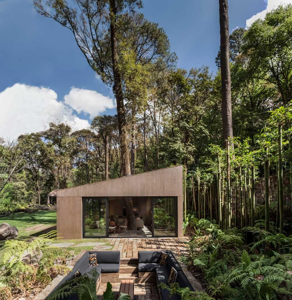 l shape house design sunken patio - L House